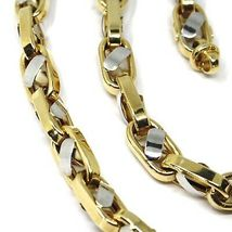 """18K YELLOW WHITE GOLD CHAIN, BIG OVAL CABLE SQUARED ALTERNATE LINK 7mm, 24"""" image 6"""