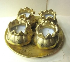 Candle Holder 4 Gold Candles and Plate - $15.04
