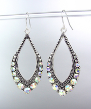 SPARKLE Antique Silver Iridescent AB CZ Crystals Tear Drop Dangle Earrings - $12.99