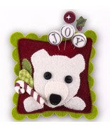 "Peppermint Bear Sliders Pincushion Kit 4"" cross... - $19.50"