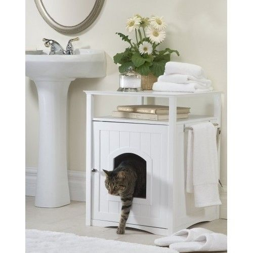 Cat Litter Box Enclosure Bathroom Cabinet Pet Dog House Coffee Table Night Stand