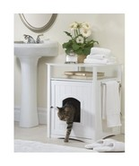 Cat Litter Box Enclosure Bathroom Cabinet Pet Dog House Coffee Table Nig... - $164.23 CAD