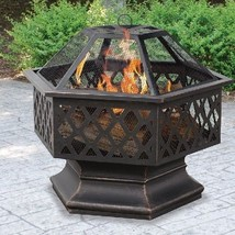 Wood Burning Fire Pit Outdoor Backyard Bronze Bowl Fireplace Steel Cover... - $163.34