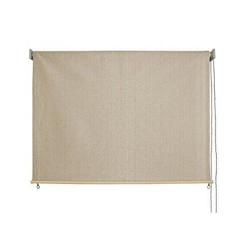 Outdoor Patio Shades 8'x 6' Beige Fabric Roll Up Pull Down ...