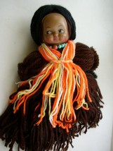 Vintage, South Western, 14in, Plastic Face, Pie Crust Eyes-Yarn Doll - $14.20
