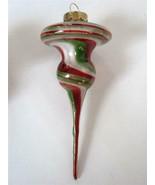 Vintage Probstein Studios Blown Art Glass Xmas Ornament Red Green White ... - $24.74