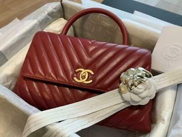 Chanel Coco Handle Bag Antique Gold Chain Shoulder Red Woman Auth New Un... - $4,819.78
