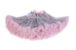 Beautifulfashionlife Girls Tulle pettiskirt Tutu Skirts Grey pink,X-Large - $28.70