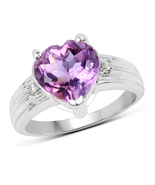 Sterling Silver 3.03 Carat Genuine Heart Shaped Amethyst and White Topaz Ring - $64.95