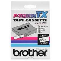 """Brother P-Touch TX-2311 Tape Cassette Black on White 1/2"""" for use on PT-... - $14.90"""