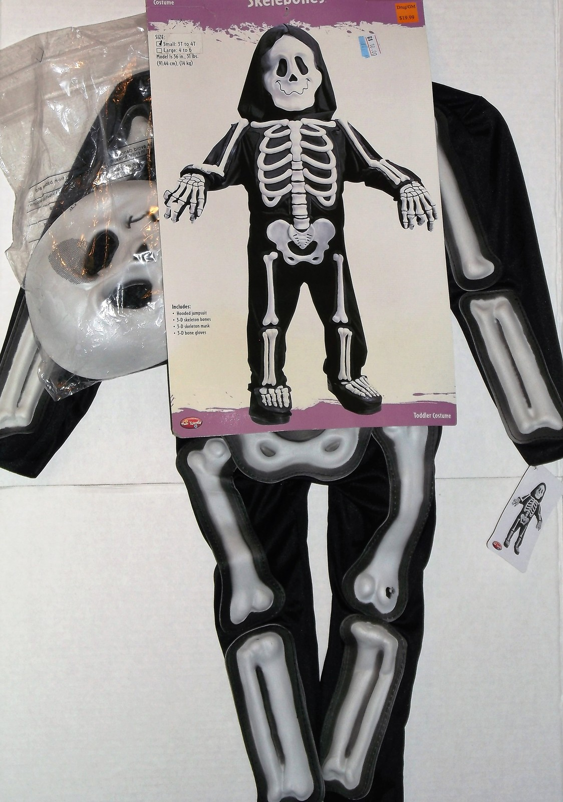 Primary image for Fun World Skelebones Toddler Size Small 3T-4T Halloween Costume