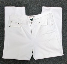 LAUREN JEANS CO White Cotton Blend High Rise Wi... - $44.54