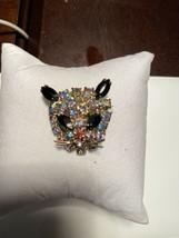 Vintage Aurora Borealis Rhinestone Kitty Cat Face Whiskers Brooch Pin Un... - $22.00