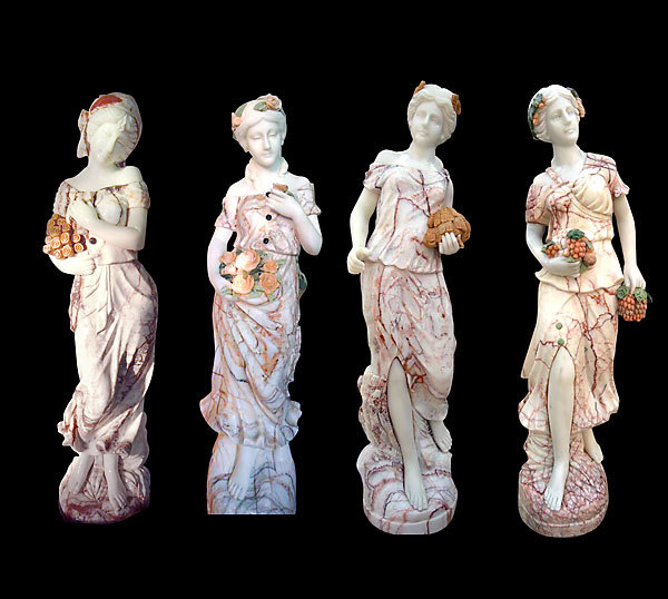 Four Seasons Multi Color Marble Garden Pool Statues,63''H