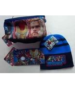 Insulated Lunch Bag Marvel Avengers Beanie Hat W Pencil Pouch School Bun... - $35.79