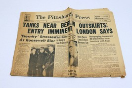 Vintage Apr 15 1945 WWII Pittsburgh Press Newspaper Death of FDR - $128.69