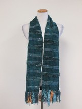 NEIMAN MARCUS Blue Green Rayon Chenille Fringe ... - $11.87