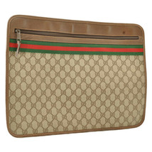 GUCCI Web Sherry Line GG Canvas Clutch Bag Red Green PVC Leather Auth 9590 - $320.00