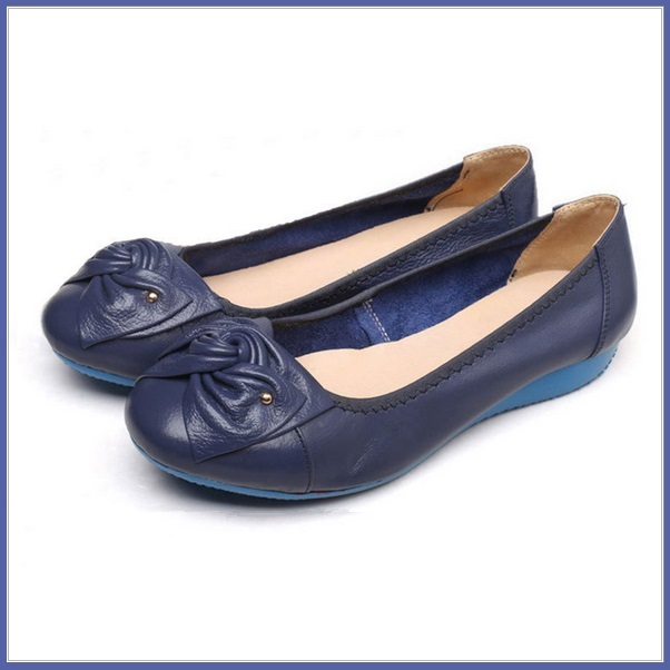 Casual Genuine Leather Ballerina Style Slip On Flat Sole Shoes In Six Colors