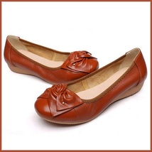 Casual Genuine Leather Ballerina Style Slip On Flat Sole Shoes In Six Colors image 2