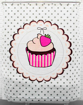 Strawberry Cupcake Design 180 x 200 cm Plastic Bathroom Use SHOWER CURTA... - $26.99