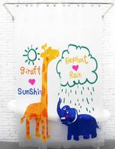 Cute Adorable PEVA 180x200 cm Bathroom Shower Curtain GIRAFFE & ELEPHANT... - $26.99