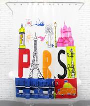 Pair Eiffel Tower Design Colorful Adorable PLASTIC Shower Curtain Set 18... - $29.99