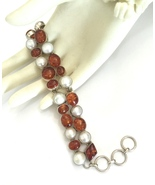 Handmade Amber and Pearl 925 Sterling Silver Br... - $60.80
