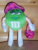 "M & M's Green Plush Candy Gal Fashionable Shopper Poseable 8"" Shop Now S... - $4.59"