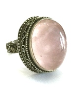 Handmade Rose Quartz 925 Sterling Silver Ring U... - $41.60