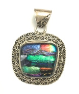 Handmade Dichroic Glass and 925 Sterling Silver... - $48.00