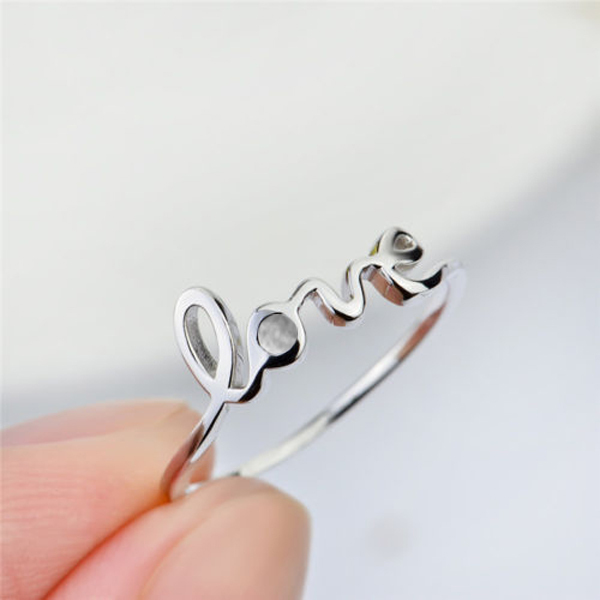 Primary image for 925 sterling silver Letter Curve Love promise engagement sweetheart ring great g