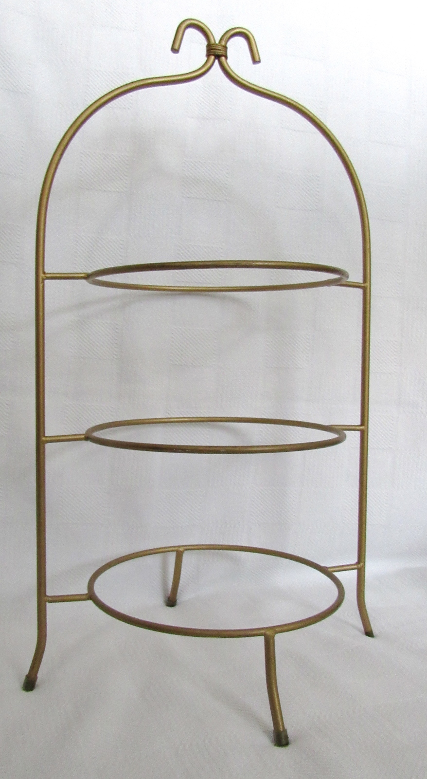 Gold Finish Three Tier Metal Plate Stand
