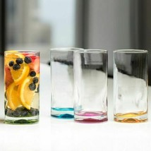 4 Piece Glassware Set 17 Oz Assorted Color Impressions Drinking Glass Cl... - $37.61