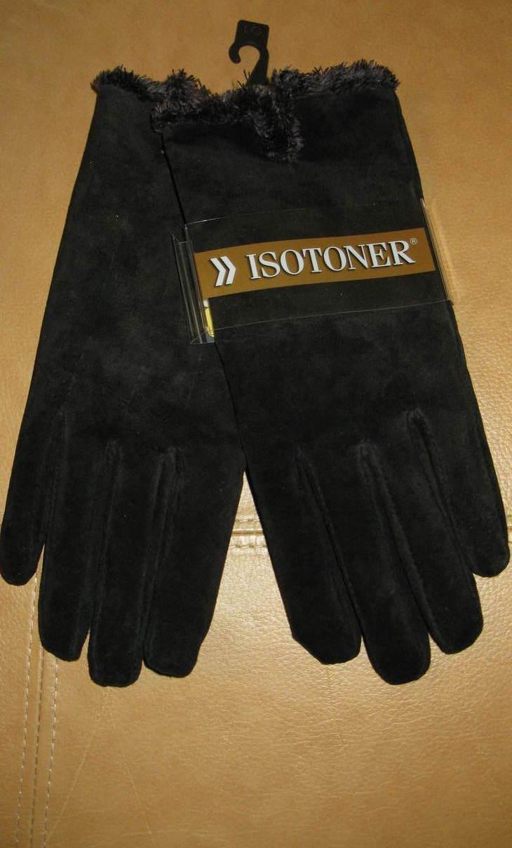 Gloves Women Isotoner Black Large New