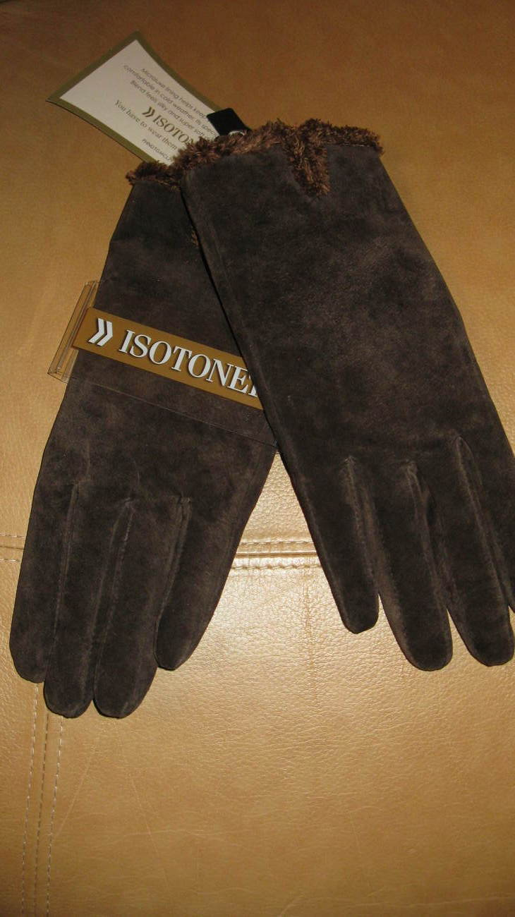Gloves Women Isotoner Brown Large New