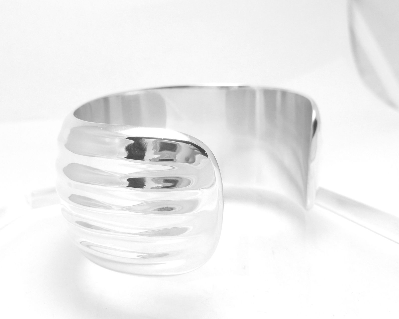 Sterling Silver Polished Bold Ribbed Cuff Bracelet
