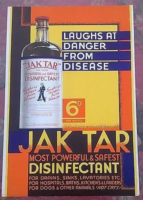 "Primary image for JAK TAR DISINFECTANT (Leeds, England) 10"" x 15"" stand-up sign w/easel"