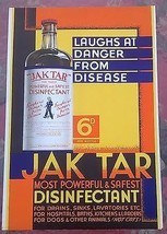 "JAK TAR DISINFECTANT (Leeds, England) 10"" x 15"" stand-up sign w/easel - $14.84"