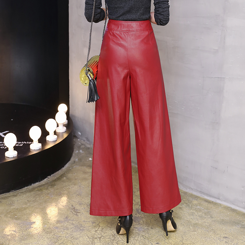 Autumn 2018 Women PU Leather Pants Red Casual Wide Leg Pants Office Ladies