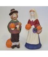 Pilgrims Man Woman Set Pumpkin Statue Figurine Porcelain Pottery Thanksg... - £25.45 GBP