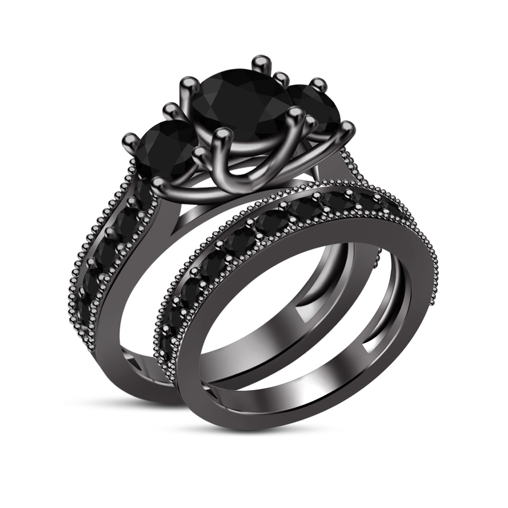 Primary image for Black Gold Over 925 Sterling Round Black Sim Diamond Engagement Bridal Ring Set