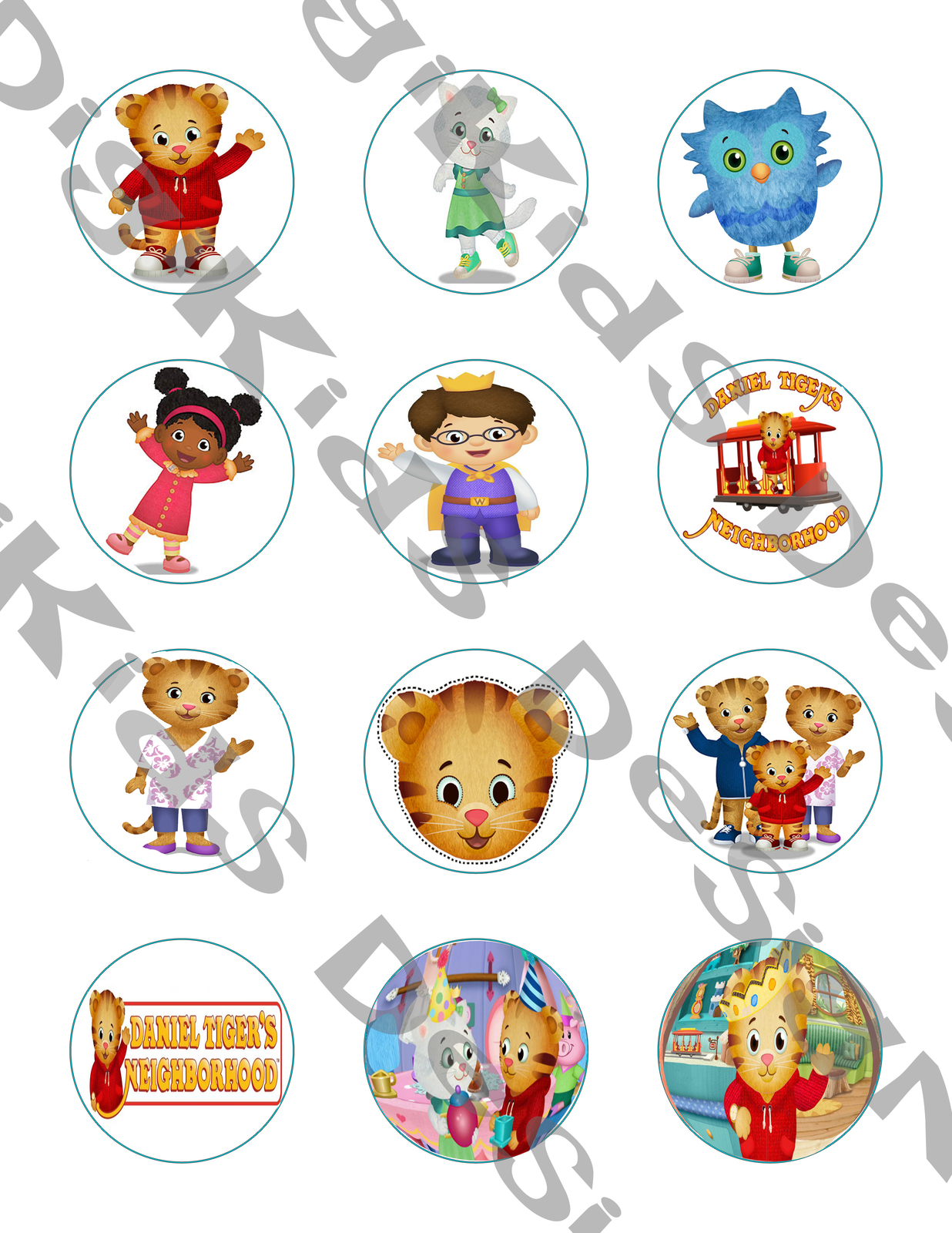 Daniel Tiger Stickers or Cupcake Toppers Printable Set of 12 - $2.00