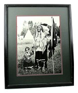 Framed Matted Native American Chief Plenty Coups Daughter Crow Photograp... - $128.67