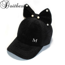 Doitbest Parent child caps Bow pearls baseball caps winter hat for women... - $10.70