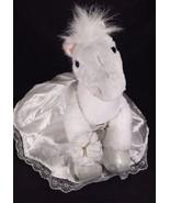 Build A Bear 15 Inch White Sparkle Pony Bride Dress Bouquet Garter Glitt... - $48.48