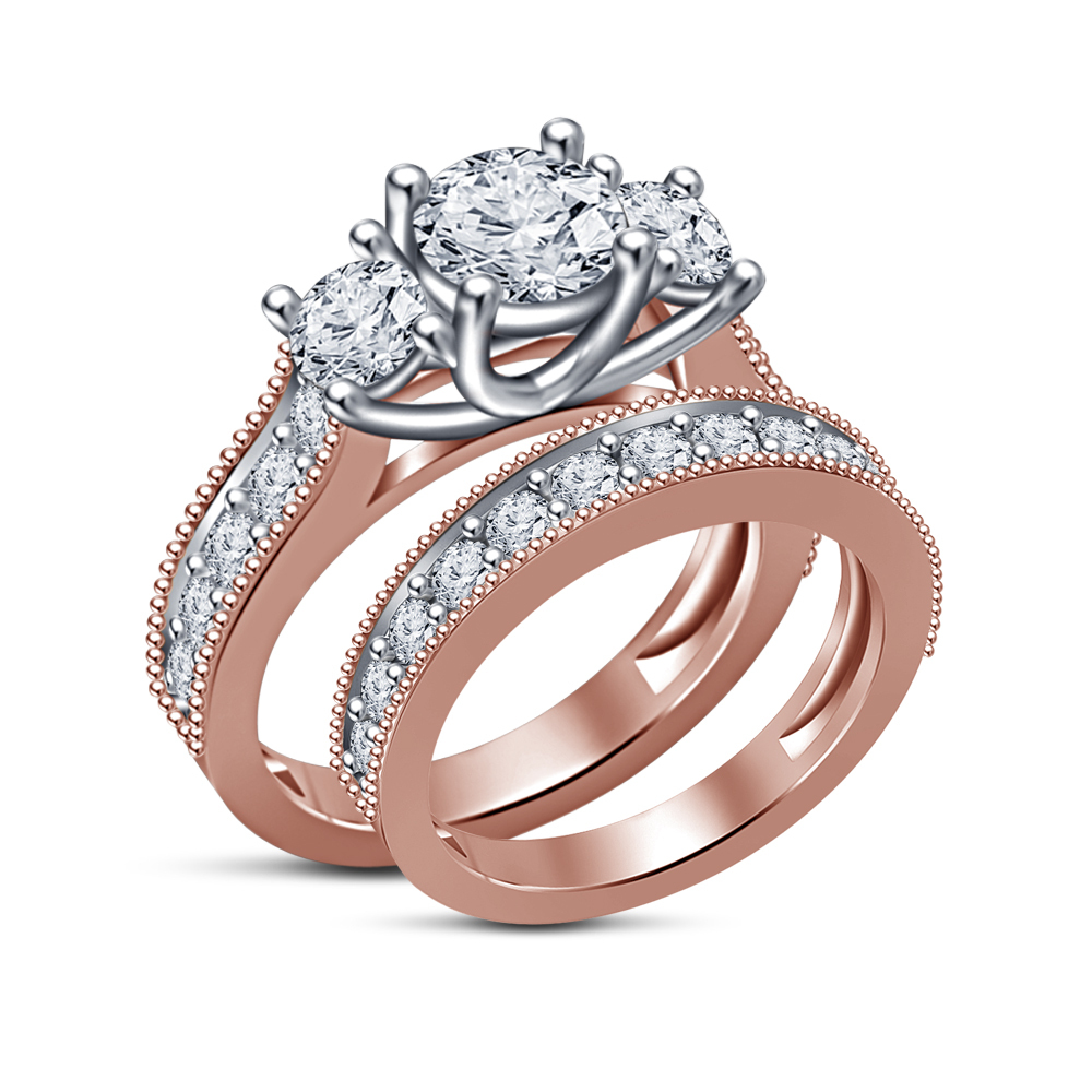 Primary image for Jewelry Sim Diamond Rose Gold Filled Fashion Wedding Bridal Ring Set For Women's
