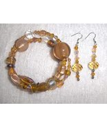 Apricot Glass and Ceramic Bead Gypsy Bracelet and Earring Set - $8.00