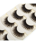 Pure Hand-made 5 Pairs Black False Eyelashes Thick Long Voluminous Fake ... - £8.83 GBP
