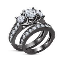 Black Gold Finish 925 Sterling Silver White Simulated Diamond Bridal Ring Set 8 - $84.74